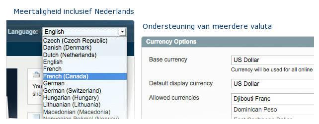 Magento heeft meerdere talen en valuta